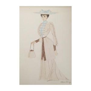 Original Drawing of 1900-1910s Fashion circa 1973